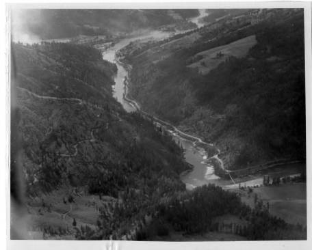 Aerial view of clearwater river before construction of Dworshak Dam