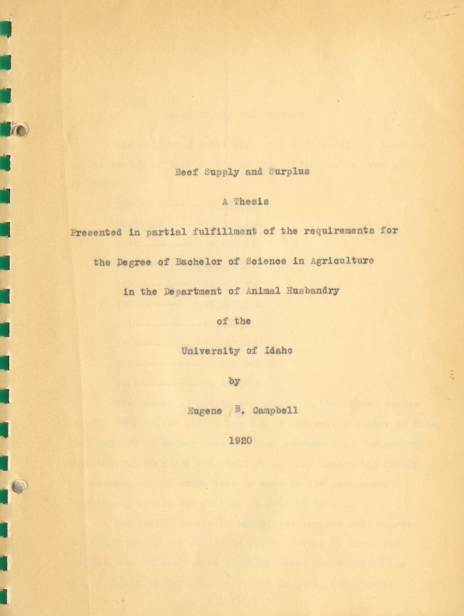 Distribution of Salt and Moisture in Butter as affected by storage, a 1917 Thesis written by Ricahrd D. Canan