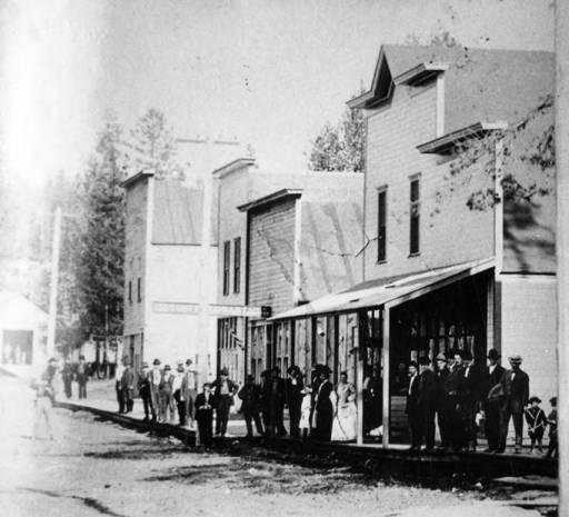 People on Bovill's Main Street