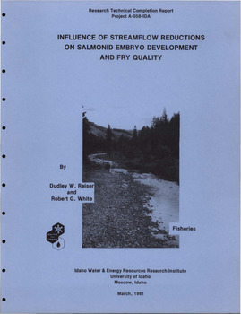 item thumbnail for Influence of streamflow reductions on salmonid embryo development and fry quality. Research technical completion report, project A-058-IDA