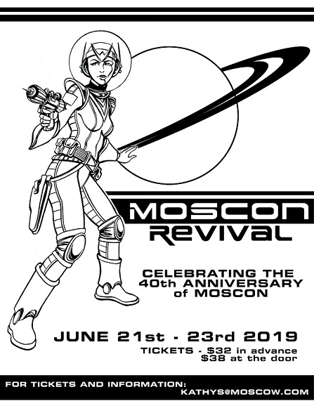 Moscon Revival poster, 2019, depicting a scifi space woman with laser gun