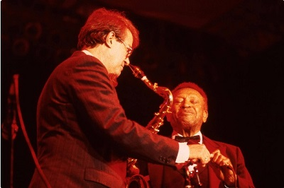 image of Doc Skinner and Lionel Hampton on stage