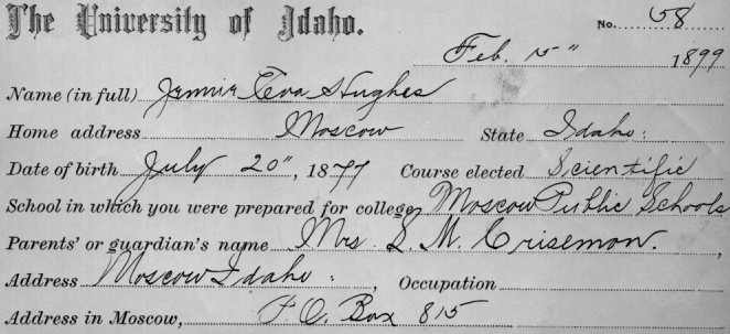 Jennie Hughes Smith - Registration Card for UofI
